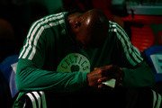 Kevin Garnett #5 of the Boston Celtics sits not he bench prior to Game Four of the Eastern Conference Quarterfinals of the 2013 NBA Playoffs against the New York Knicks on April 28, 2013 at TD Garden in Boston, Massachusetts. NOTE TO USER: User expressly acknowledges and agrees that, by downloading and or using this photograph, User is consenting to the terms and conditions of the Getty Images License Agreement.
