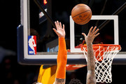 Wilson Chandler #21 of the Denver Nuggets puts up a shot against Willy Hernangomez #14 of the New York Knicks at the Pepsi Center on January 25, 2018 in Denver, Colorado. NOTE TO USER: User expressly acknowledges and agrees that, by downloading and or using this photograph, User is consenting to the terms and conditions of the Getty Images License Agreement.