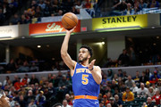 Courtney Lee #5 of the New York Knicks shoots the ball against the Indiana Pacers at Bankers Life Fieldhouse on February 11, 2018 in Indianapolis, Indiana.  NOTE TO USER: User expressly acknowledges and agrees that, by downloading and or using this photograph, User is consenting to the terms and conditions of the Getty Images License Agreement.