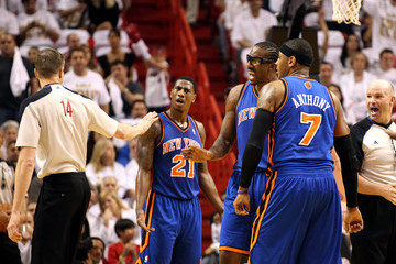 Amare Stoudemire Carmelo Anthony New York Knicks v Miami Heat - Game One