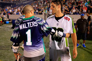 Paul Rabil #99 of the New York Lizards talks with Joe Walters #1 of the Chesapeake Bayhawks following the Lizards 15-13 win at Navy-Marine Corps Memorial Stadium on July 2, 2015 in Annapolis, Maryland.