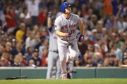 Jay Bruce #19 of the New York Mets rounds the bases after hitting a three run home run against the Boston Red Sox during the third inning at Fenway Park on September 14, 2018 in Boston, Massachusetts.