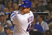 Anthony Rizzo #44 of the Chicago Cubs gets his 1,000th Cubs career hit, a double in the 7th inning against the New York Mets,.at Wrigley Field on August 27, 2018 in Chicago, Illinois.