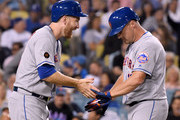 Jay Bruce #19 of the New York Mets celebrates his two run homerun with Todd Frazier #21 to take a 2-0 lead over the Los Angeles Dodgers during the second inning at Dodger Stadium on September 4, 2018 in Los Angeles, California.