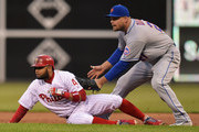 Lucas Duda #21 of the New York Mets tags out a fallen Andres Blanco #4 of the Philadelphia Phillies in the first inning at Citizens Bank Park on April 19, 2016 in Philadelphia, Pennsylvania.