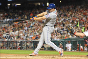 Jay Bruce #19 of the New York Mets hits a solo home run in the third inning pitches during a baseball game against the Washington Nationals at Nationals Park on September 20, 2018 in Washington, DC.