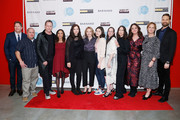 """(L-R) Robert Kolker, Dean Winters, Amy Ryan, Molly Brown, Miriam Shor, Liz Garbus, Anne Carey and Michael Werwie attend the """"Lost Girls"""" New York premiere during The Athena Film Festival at The Diana Center at Barnard College on February 29, 2020 in New York City."""