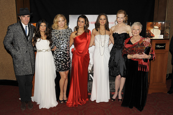 (L-R) Actors Daniel Day-Lewis, Fergie, Kate Hudson, Penelope Cruz, Marion Cotillard, Nicole Kidman and Dame Judi Dench attend the New York premiere of