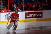 Cam Ward #30 of the Carolina Hurricanes takes the ice during the game against the New York Rangers at PNC Arena on March 9, 2017 in Raleigh, North Carolina. The Hurricanes won 4-3.