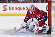 Goaltender Antti Niemi #37 of the Montreal Canadiens protects his net during the warm-up against the New York Rangers prior to the NHL game at the Bell Centre on February 22, 2018 in Montreal, Quebec, Canada.  The Montreal Canadiens defeated the New York Rangers 3-1.