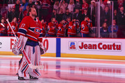 Goaltender Antti Niemi #37 of the Montreal Canadiens looks on during the singing of the anthems against the New York Rangers prior to the NHL game at the Bell Centre on February 22, 2018 in Montreal, Quebec, Canada.  The Montreal Canadiens defeated the New York Rangers 3-1.