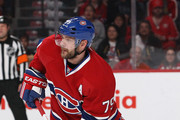 Andrei Markov #79 of the Montreal Canadiens skates with the puck against the New York Rangers in Game Two of the Eastern Conference Finals of the 2014 NHL Stanley Cup Playoffs at the Bell Centre on May 19, 2014 in Montreal, Canada.