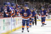 Josh Bailey #12 of the New York Islanders celebrates with teammates after scoring a goal in the first period against the New York Rangers during their game at Barclays Center on February 15, 2018 in the Brooklyn borough of New York City.