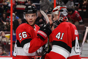 Magnus Paajarvi #56, Cody Ceci #5 and Craig Anderson #41 of the Ottawa Senators celebrate their win against the New York Rangers at Canadian Tire Centre on February 17, 2018 in Ottawa, Ontario, Canada.