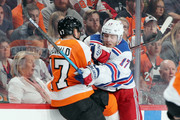 Jesper Fast #17 of the New York Rangers hits Andrew MacDonald #47 of the Philadelphia Flyers during the third period at the Wells Fargo Center on September 27, 2018 in Philadelphia, Pennsylvania.  The Rangers defeated the Flyers 4-2.
