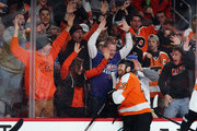 Claude Giroux #28 of the Philadelphia Flyers celebrates his goal at 17:59 of the second period against the New York Rangers at the Wells Fargo Center on April 7, 2018 in Philadelphia, Pennsylvania.