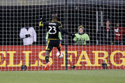 Kei Kamara #23 of the Columbus Crew SC scores a goal during the second half of the match against the New York Red Bulls on November 22, 2015 at MAPFRE Stadium in Columbus, Ohio. Columbus defeated New York 2-0.