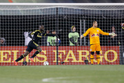 Kei Kamara #23 of the Columbus Crew SC celebrates as Luis Robles #31 of the New York Red Bulls reacts to giving up a gaol during the second half on November 22, 2015 at MAPFRE Stadium in Columbus, Ohio. Columbus defeated New York 2-0.