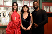 """This image has been digitally altered) Sandra Bullock, Susanne Bier, and Trevante Rhodes attend the New York Special Screening Of The Netflix Film """"BIRD BOX"""" at Alice Tully Hall on December 17, 2018 in New York City."""