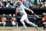 Matt Holliday #17 of the New York Yankees hits a single in the first inning for his 2000th career hit against the Baltimore Orioles at Oriole Park at Camden Yards on April 8, 2017 in Baltimore, Maryland.