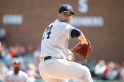 Jaime Garcia #34 of the New York Yankees throws a first inning pitch while playing the Detroit Tigers at Comerica Park on August 24, 2017 in Detroit, Michigan.