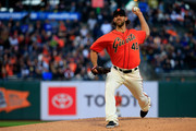 Madison Bumgarner #40 of the San Francisco Giants pitches during the first inning against the New York Yankees at Oracle Park on April 26, 2019 in San Francisco, California.