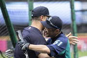 Ichiro Suzuki #51 of the Seattle Mariners hugs Giancarlo Stanton #27 of the New York Yankees before a a game at Safeco Field on September 8, 2018 in Seattle, Washington. The Yankees won 4-2.