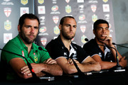 L to R, Captain Cameron Smith of the Kangaroos along with captain Simon Mannering and coach Stephen Kearney of the Kiwis look on during a joint New Zealand Kiwis and Australian Kangaroos Four Nations Final joint press conference at Westpac Stadium on November 14, 2014 in Wellington, New Zealand.