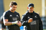 Assistant coach Scott McLeod talks to Liam Squire during a New Zealand All Blacks Captain's Run at Westpac Stadium on September 14, 2018 in Wellington, New Zealand.