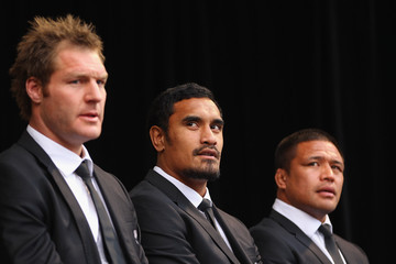 Ali Williams Jerome Kaino New Zealand IRB RWC 2011 Official Welcome Ceremony