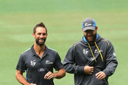 Grant Elliott and Daniel Vettori of New Zealand have a laugh during a New Zealand nets session at Melbourne Cricket Ground on March 28, 2015 in Melbourne, Australia.