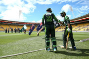 Fakhar Zaman and Shoaib Malik of Pakistan take the fieldduring game one of the Twenty20 series between New Zealand and Pakistan at Westpac Stadium on January 22, 2018 in Wellington, New Zealand.