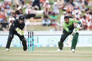 Shoaib Malik of Pakistan bats without a helmet on during game four of the One Day International Series between New Zealand and Pakistan at Seddon Park on January 16, 2018 in Hamilton, New Zealand.