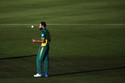 Imran Tahir of South Africa prepares to bowl during the First One Day International match between New Zealand and South Africa at Seddon Park on February 19, 2017 in Hamilton, New Zealand.