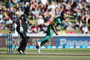 Imran Tahir of South Africa bowls during the First One Day International match between New Zealand and South Africa at Seddon Park on February 19, 2017 in Hamilton, New Zealand.