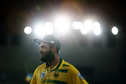 Imran Tahir of South Africa looks on after winning the first International Twenty20 match between New Zealand and South Africa at Eden Park on February 17, 2017 in Auckland, New Zealand.