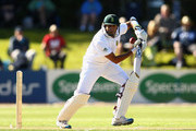 Imran Tahir of South Africa bats during day two of the First Test match between New Zealand and South Africa at the University Oval on March 8, 2012 in Dunedin, New Zealand.