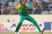 Imran Tahir of South Africa celebrates the wicket of Jesse Ryder of New Zealand during the 2011 ICC World Cup Quarter-Final match between New Zealand and South Africa at Shere-e-Bangla National Stadium on March 25, 2011 in Dhaka, Bangladesh.