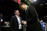 General Manager of the New Zealand Breakers Dillon Boucher speaks to NBA legend and President of the Chinese Basketball Association Yao Ming after the FIBA World Cup Qualifying match between the New Zealand Tall Blacks and China at Spark Arena on July 1, 2018 in Auckland, New Zealand.