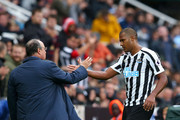 Salomon Rondon of Newcastle United is greeted by Rafael Benitez, Manager of Newcastle United as Salomon Rondon is substituted off during the Premier League match between Newcastle United and Chelsea FC at St. James Park on August 26, 2018 in Newcastle upon Tyne, United Kingdom.