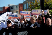 Newcastle United fans protest against chairman Mike Ashley outside the stadium prior to the Premier League match between Newcastle United and Leicester City at St. James Park on September 29, 2018 in Newcastle upon Tyne, United Kingdom.
