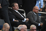 Newcastle owner Mike Ashley (l) flanked by  Lee Charnley look on from the stand during the Premier League match between Newcastle United and Leicester City at St. James Park on September 29, 2018 in Newcastle upon Tyne, United Kingdom.
