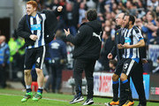 Rafael Benitez manager of Newcastle United and Jack Colback (4) and Andros Townsend (25) of Newcastle United celebrate as Aleksandar Mitrovic of Newcastle United scores their first and equalising goal during the Barclays Premier League match between Newcastle United and Sunderland at St James' Park on March 20, 2016 in Newcastle upon Tyne, United Kingdom.