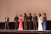 (L-R) Ron Howard, Tom Hanks, Felicity Jones, Omar Sy, Irrfan Khan, Ben Foster, Sidse Babett Knudsen and Ana Ularu attend the INFERNO World Premiere Red Carpet at the Opera di Firenze on October 8, 2016 in Florence, Italy.