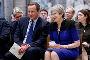 Britain's Prime Minister Theresa May and Former PM David Cameron attend a service of thanksgiving for Lord Heywood at Westminster Abbey on June 20, 2019 in London, England.Lord Jeremy Heywood of Whitehall GCB CVO served as Head of the Civil Service until shortly before his death in 2018. Former Prime Ministers, senior politicians, civil servants joined his family and friends at a service of thanksgiving for his life and work.
