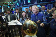 Sir Richard Branson, Founder of Virgin Galactic, rings a ceremonial bell on the floor of the New York Stock Exchange (NYSE) to promote the first day of trading of Virgin Galactic Holdings shares on October 28, 2019 in New York City. Virgin Galactic Holdings became the first space-tourism company to go public as it began trading on Monday with a market value of about $1 billion.