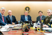 In this handout photo provided by the White House, President Donald J. Trump is joined by Vice President Mike Pence (2nd L), National Security Advisor Robert O'Brien (L), Secretary of Defense Mark Esper (2nd R) and Chairman of the Joint Chiefs of Staff U.S. Army General Mark A. Milley in the Situation Room of the White House October 26, 2019 in Washington, DC. The President was monitoring developments as U.S. Special Operations forces close in on ISIS leader Abu Bakr al-Baghdadi's compound in Syria with a mission to kill or capture the terrorist.