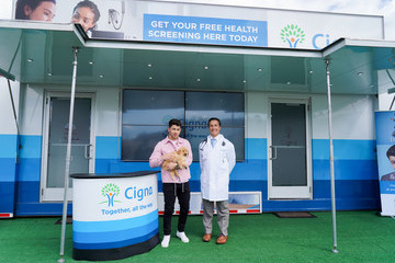 Nick Jonas Nick Jonas And Puppy Co-Star Appear At Cigna's Health Improvement Tour