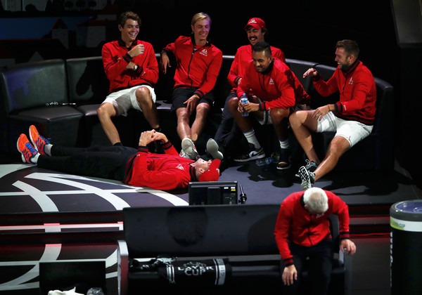 Laver Cup 2019 - Day 2 [team,sports,competition,competition event,sport venue,crew,vehicle,teammates,players,john isner,milos raonic,rest,team europe,geneva,team world,laver cup,singles match]