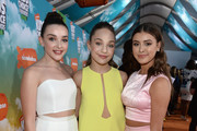 (L-R) TV personalitiws/dancers Kendall Vertes,  Maddie Ziegler, and Kalani Hilliker attends Nickelodeon's 2016 Kids' Choice Awards at The Forum on March 12, 2016 in Inglewood, California.